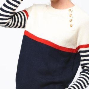 Anthro Mo:Vint Striped Button Neck Sweater
